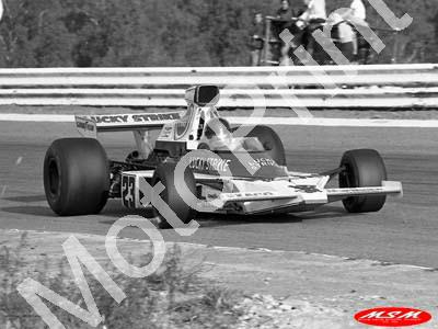 1974 SA GP 23 Charlton McLaren M23-2 NOTE HEIGHT OF NOSE AND TAPE(permission Malcolm Sampson Motorsport Photography) (589) copy
