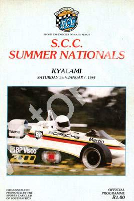 1984 SCC Kya Summer National Cover,entry lists SBK, FF, F1 & 250, 750, FV, 575, Pirelli Gp1, SA drivers champ, WEsbank mod, classic cars s001
