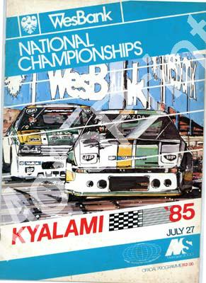 1985 Kya July Cover, entries 250, unltd, 575, 250, 750 mc, Gp 1 cars, Sigma quiz, F2, FV WEsbank mod, classic cars, FF 001