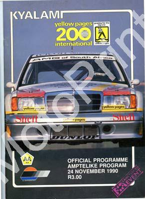 1990 Kya Yellow Pages 200 DTM Cover, driver profiles, entries, main race, superkarts, GTi, HCRR, Wesbank mod, Gp N Master Drivers 001 - Click Image to Close