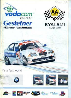 2000 July Kya Cover, entries Wesbank V8, Bankfin saloons, Gp N, FF, Supersport MC, Sports Prototypes