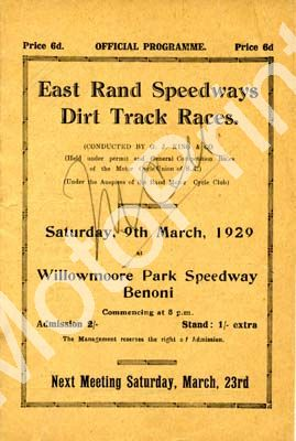 29 East Rand Speedway; digital scans of cover, entry lists, sold digital format and price only