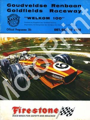 1970 Goldfields Welkom 100; digital scans cover, entry lists, sold digital format and price only (+ history circuit)