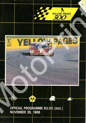 1988 Yellow pages 500; digital scans of cover, entry lists, sold digital format and price only (+ colour pics entries, grid pos insert)