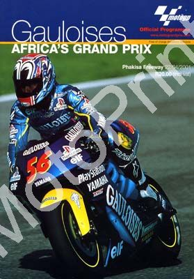 2001 SA MotoGP Phakisa: digital scans of cover and entry lists, sold in digital format and price only (+map, colour profiles riders)