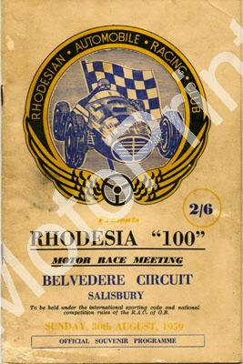 1959 Aug pr a Rhodesia 100 Belvedere Aug; digital scans cover, entry lists pics at digital price