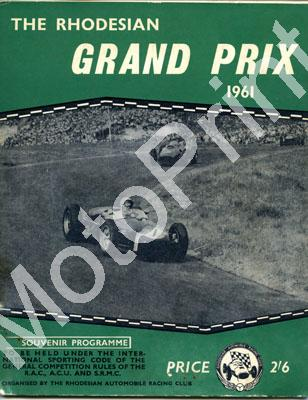 1961 Rhodesian GP Belvedere; digital scans cover, entry lists driver and car profiles at digital price only