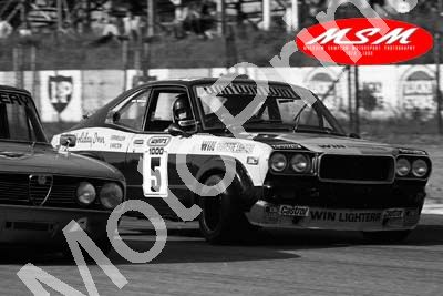 (permission Malcolm Sampson Motorsport Photography) 1976 Wynns 1000 5 Mazda RX3 Charlie casts the evil eye (34) LOGO NOT ON PHOTO SOLD